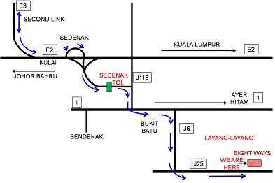 Map of Eight Ways Layang Layang Meditation Centre